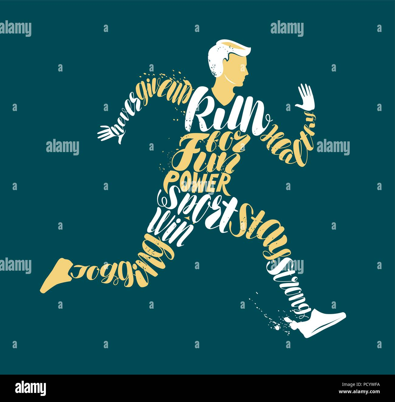 Jogging, fitness or run concept. Typographic design, vector illustration - Stock Image