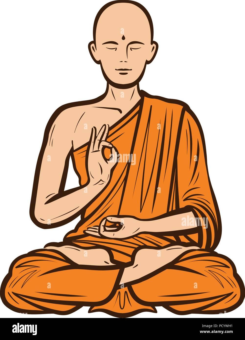 Buddhist in orange robe. Buddha, Buddhism concept. Cartoon vector illustration - Stock Vector