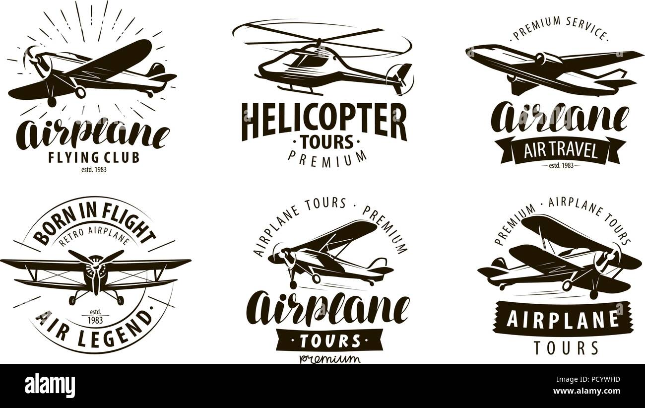 Aircraft, airplane, helicopter logo or icon. Transport label set. Vector illustration - Stock Vector