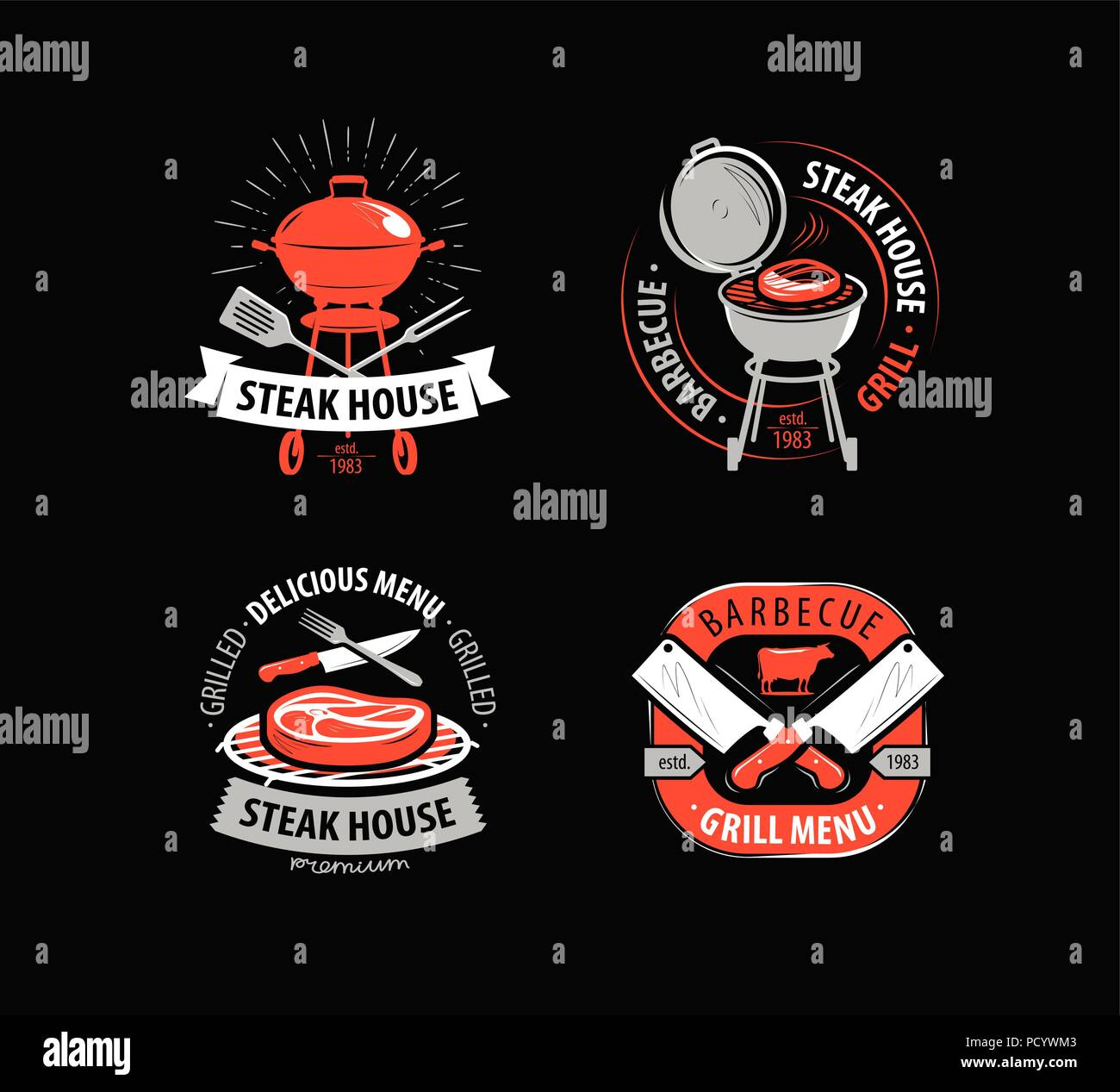 Bbq Grill Barbecue Logo Or Symbol Labels For Menu Of