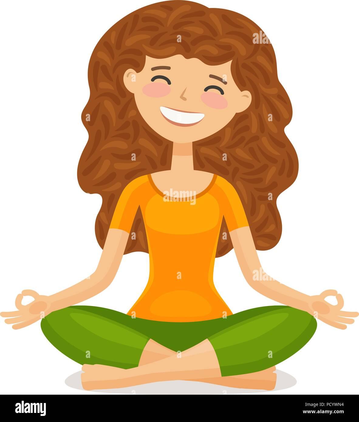 Cute Girl Doing Yoga Relaxation Meditation Concept Funny Cartoon Vector Illustration Stock Vector Image Art Alamy