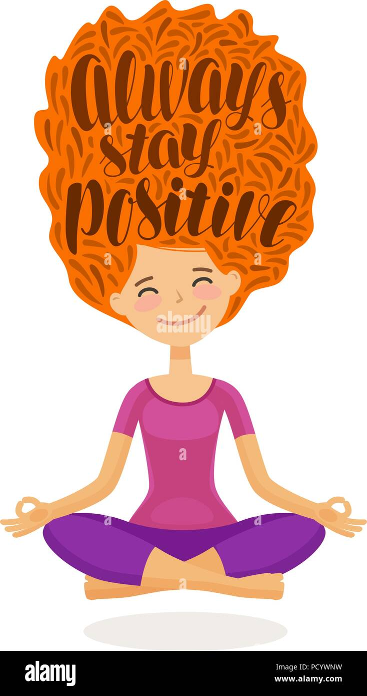 Cute girl is sitting in lotus pose. Always stay positive