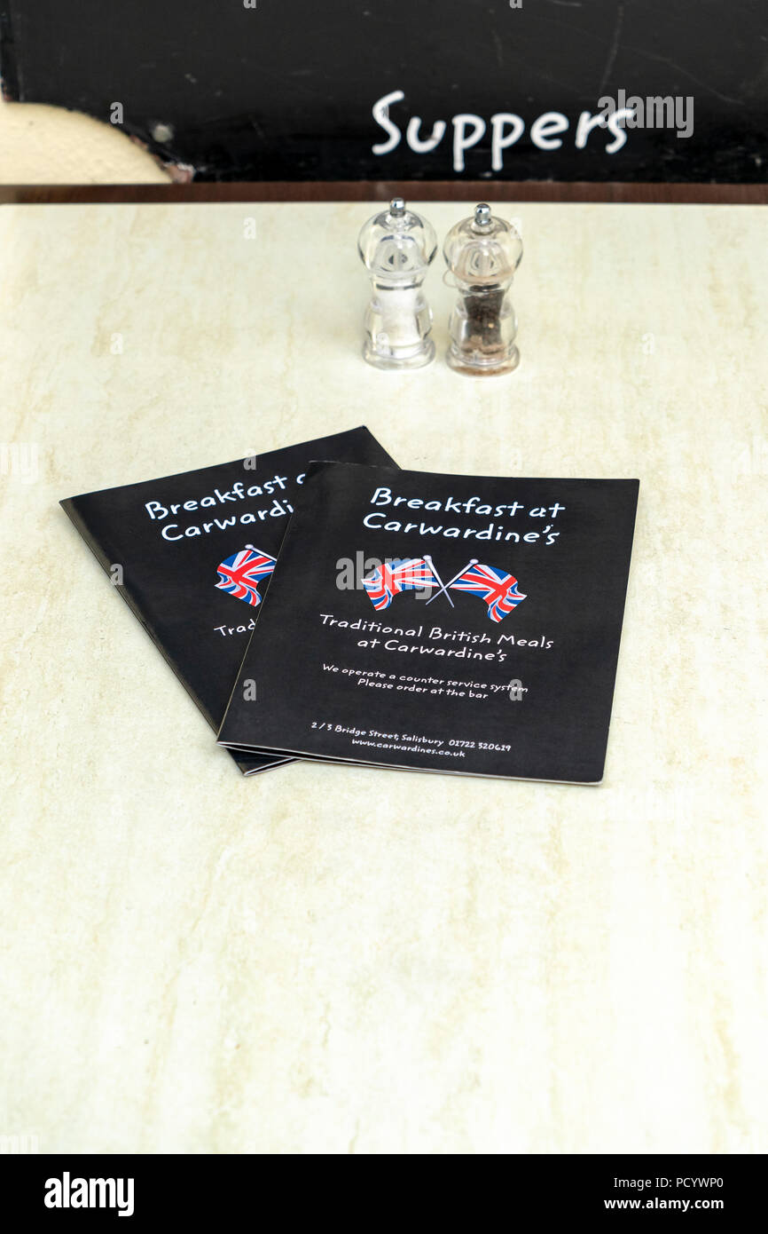 Menus on a restaurant table - Stock Image