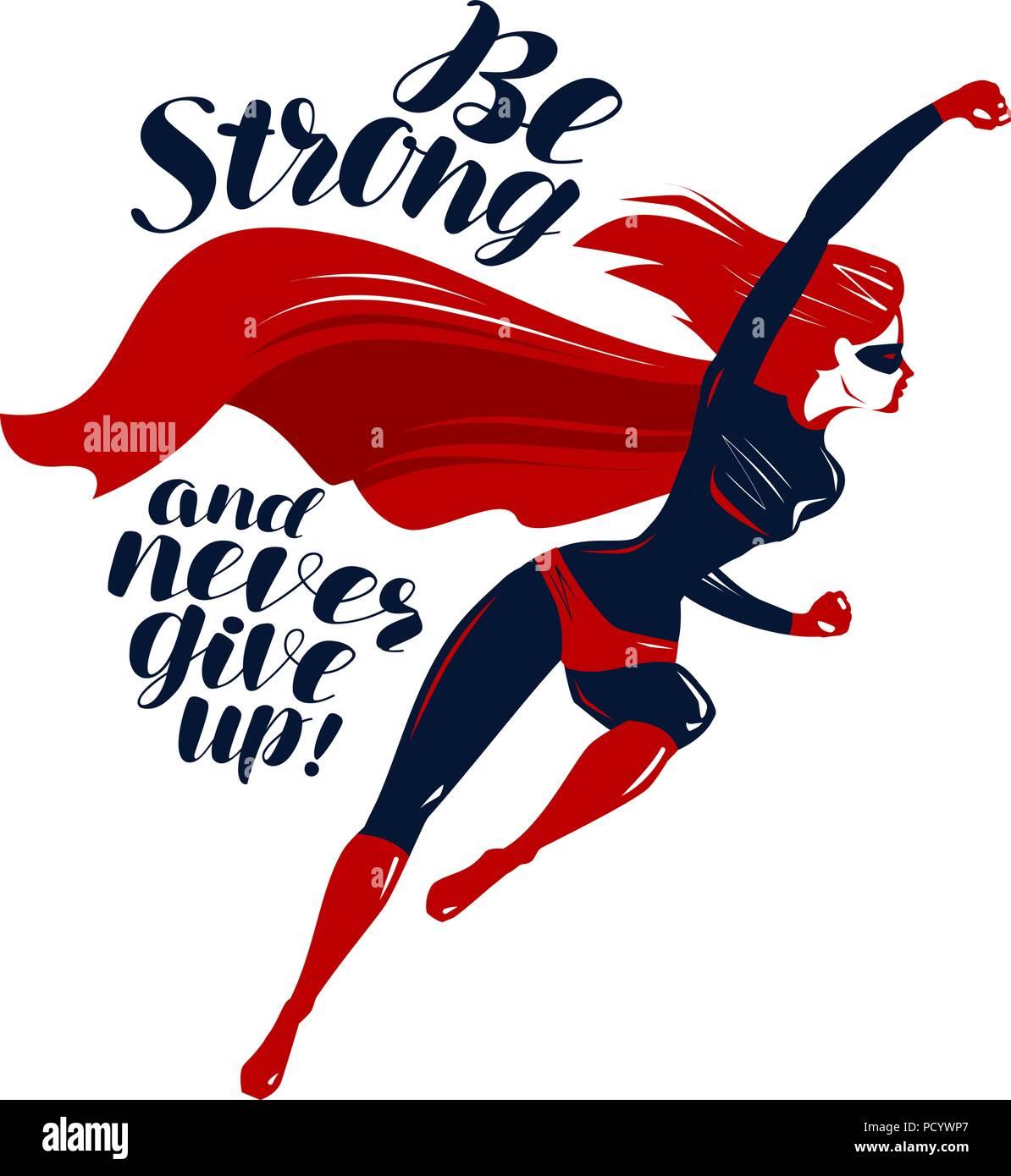 Superhero in flight. Typographic design, lettering vector illustration - Stock Image