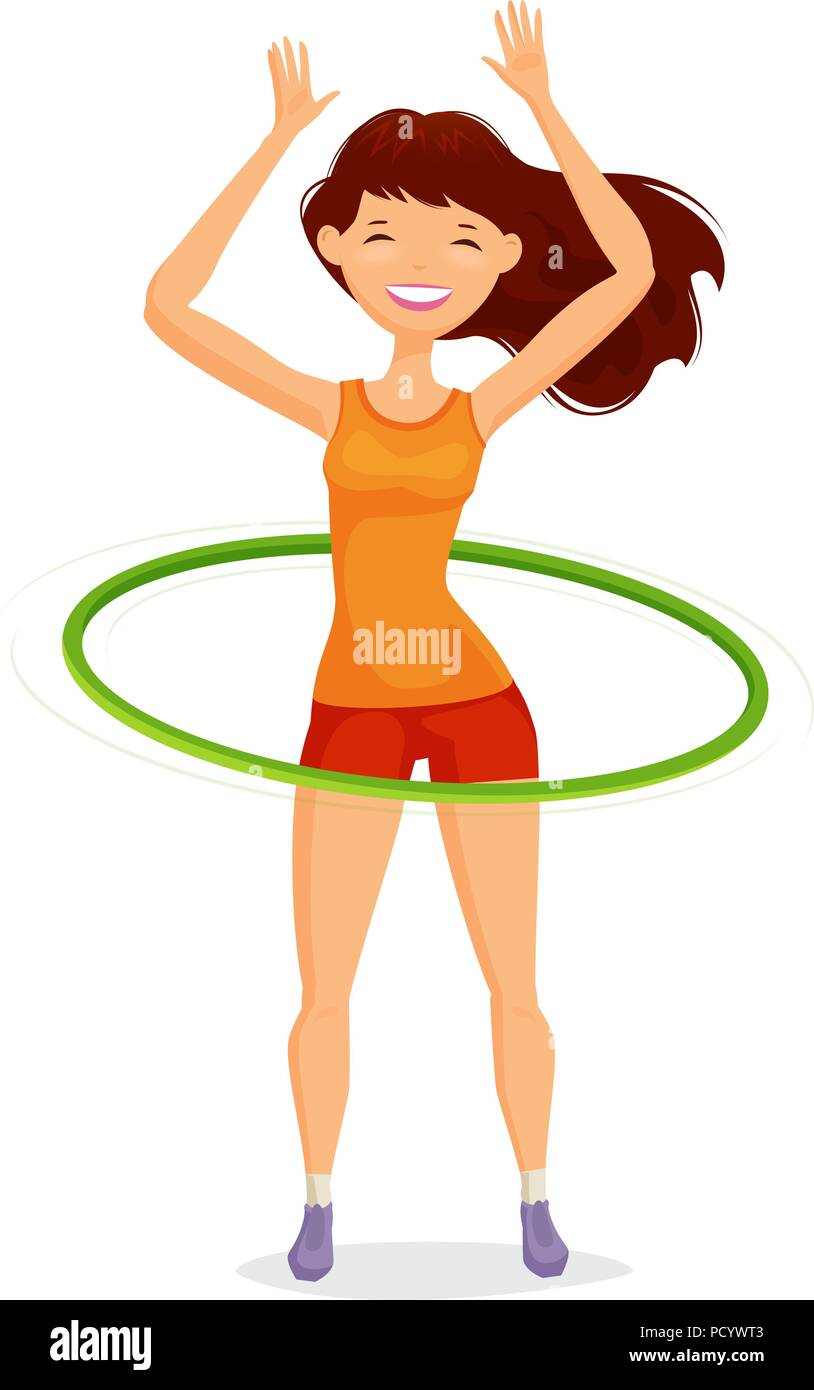 Sport girl turns the hula hoop. Fitness, healthy lifestyle concept. Funny cartoon vector illustration - Stock Image