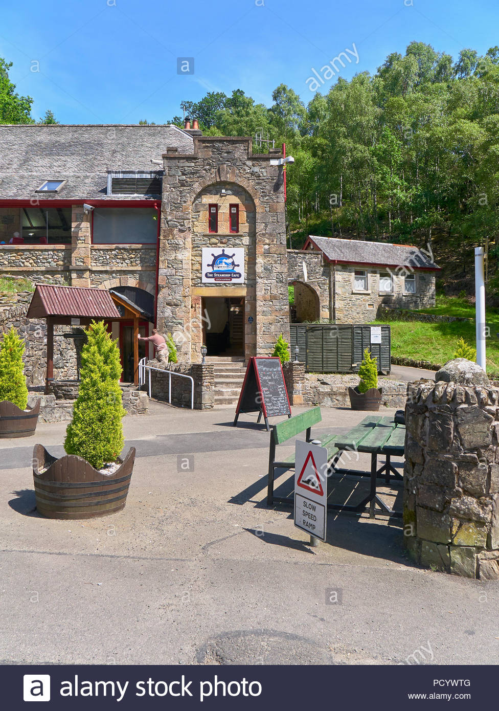 entrance to the steamship cafe in loch katrine in stirling scotland uk - Stock Image