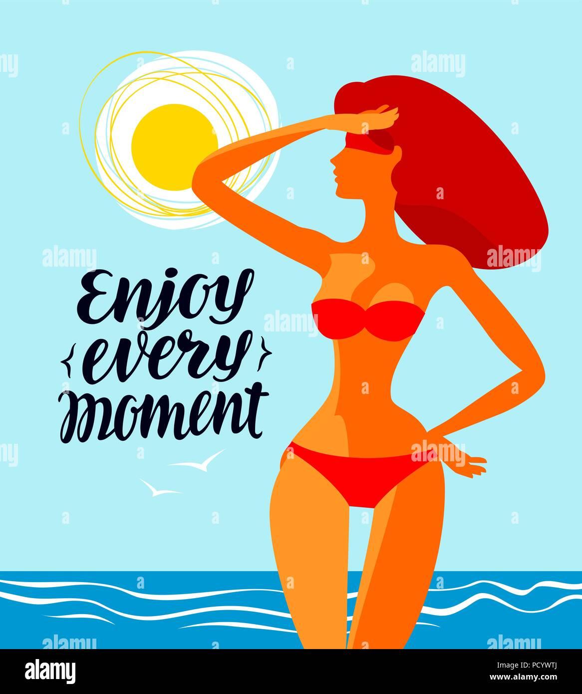 Enjoy every moment, banner. Travel, beach vector illustration - Stock Vector