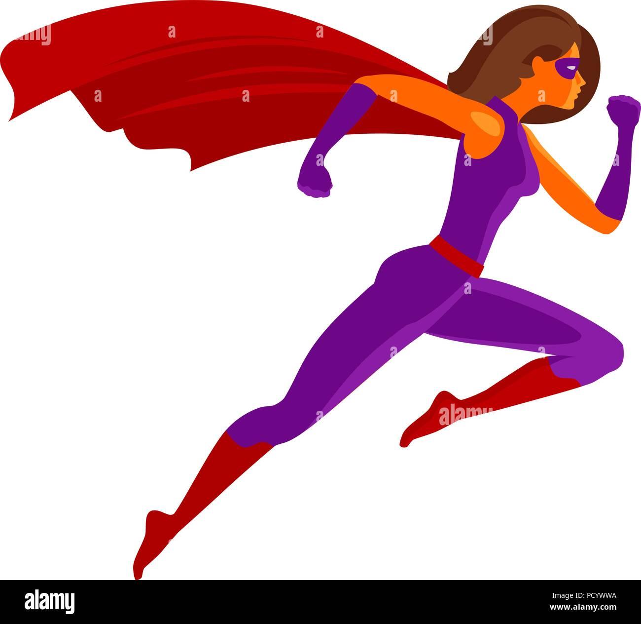 Girl super hero or Superwoman flying. Cartoon vector illustration - Stock Vector