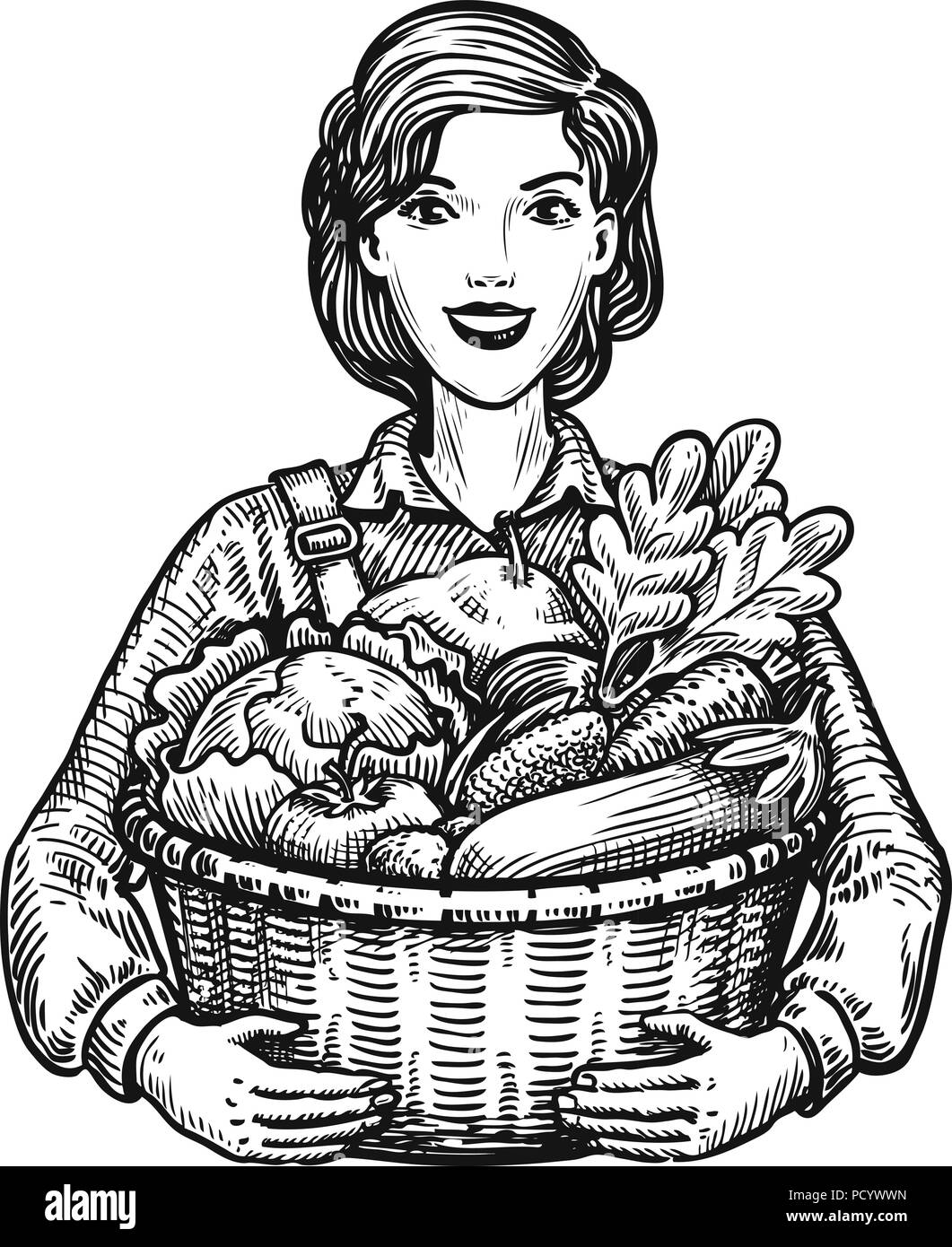 Beautiful girl or happy farmer holding a wicker basket full