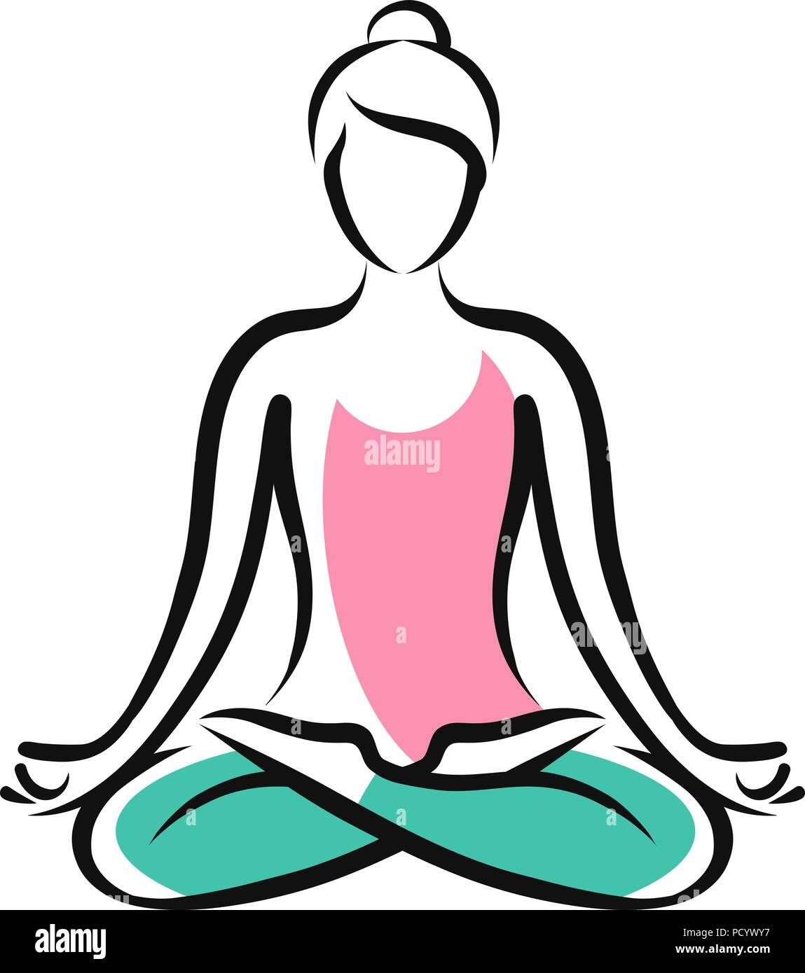 Girl sitting in lotus pose. Yoga, fitness logo or symbol. Vector illustration - Stock Vector