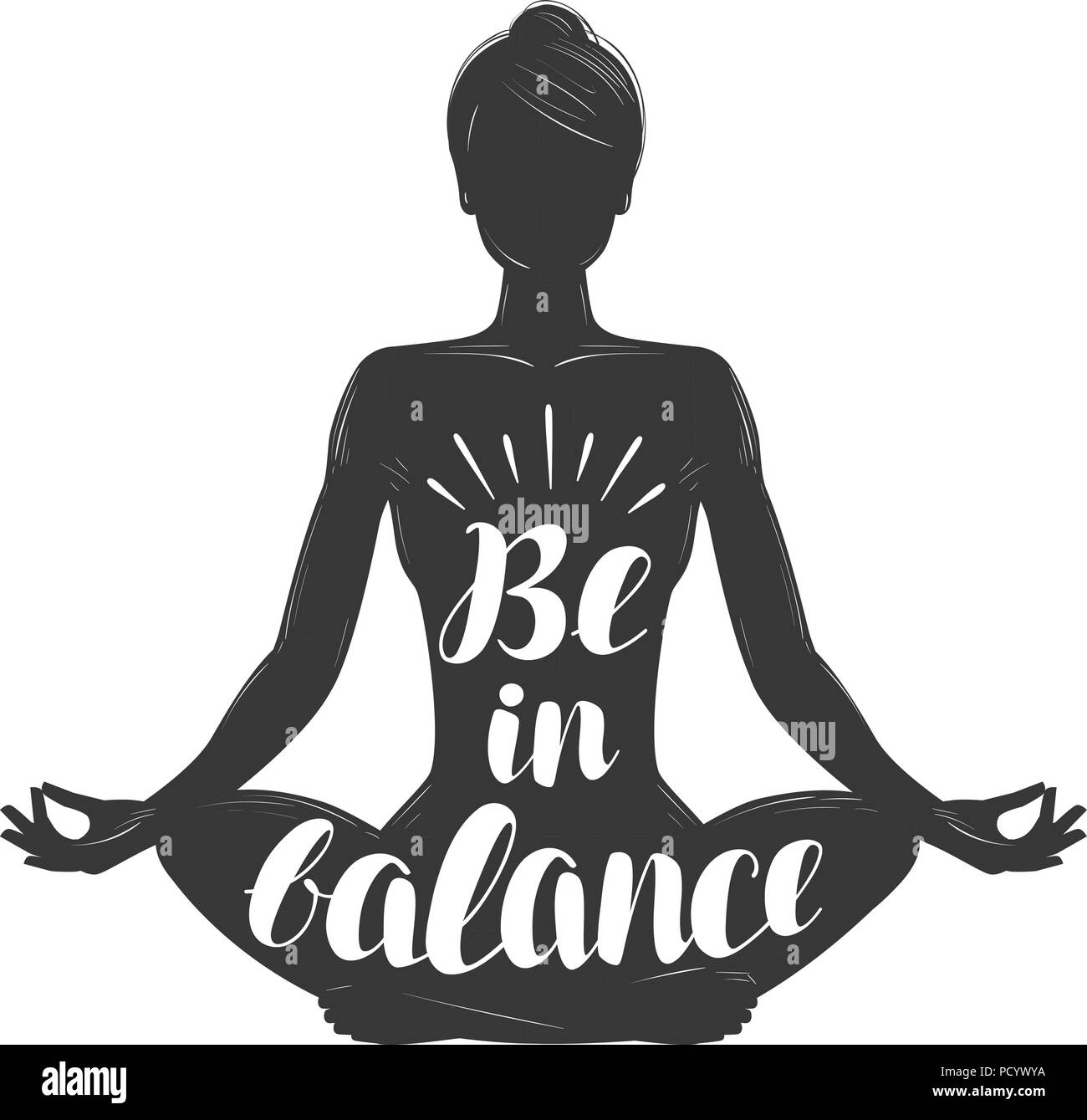Silhouette Of Girl Sitting In Lotus Pose Yoga Meditation Concept