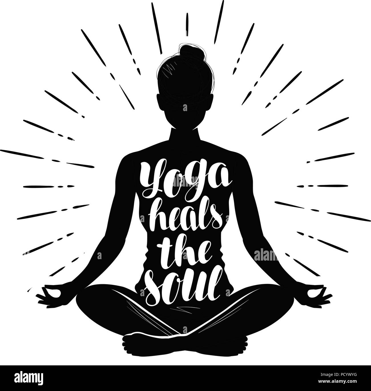 Yoga. Girl meditating in lotus pose. Typography design, vector illustration - Stock Vector