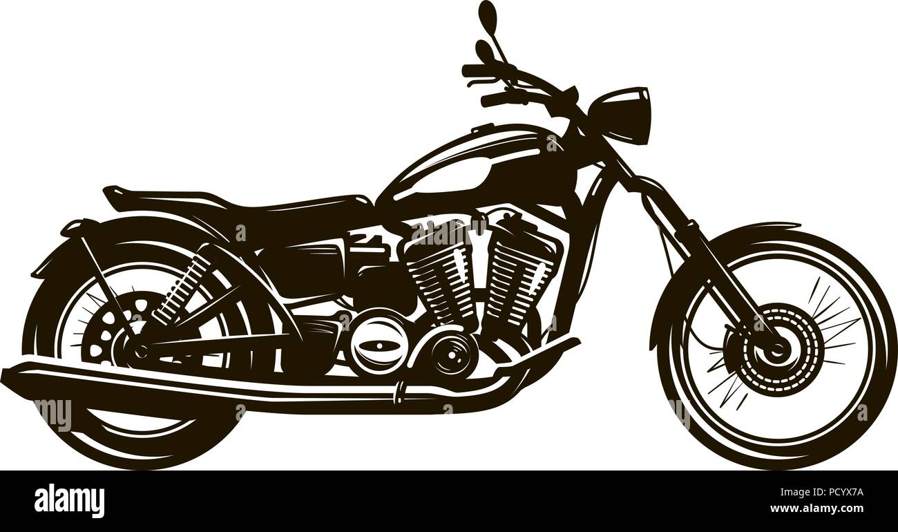 Retro motorcycle. Silhouette vector illustration - Stock Image
