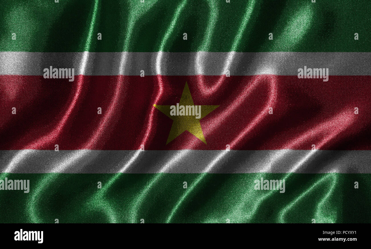 Suriname flag - Fabric flag of Suriname country, Background and wallpaper of waving flag by textile. - Stock Image