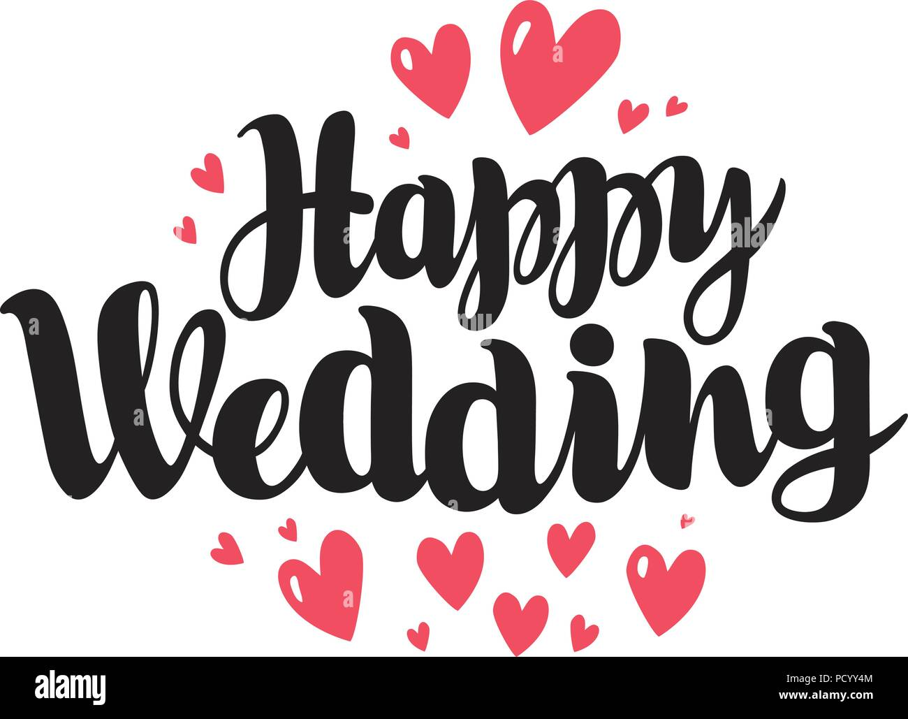 Happy Wedding, Lettering. Marriage, Marry Concept