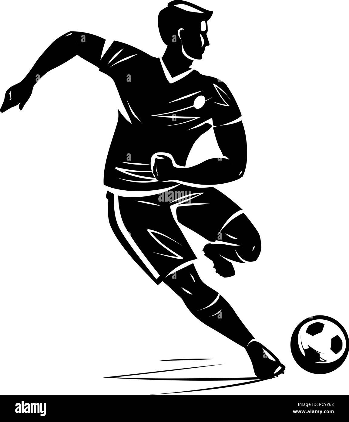 Soccer player, silhouette. Vector illustration - Stock Image