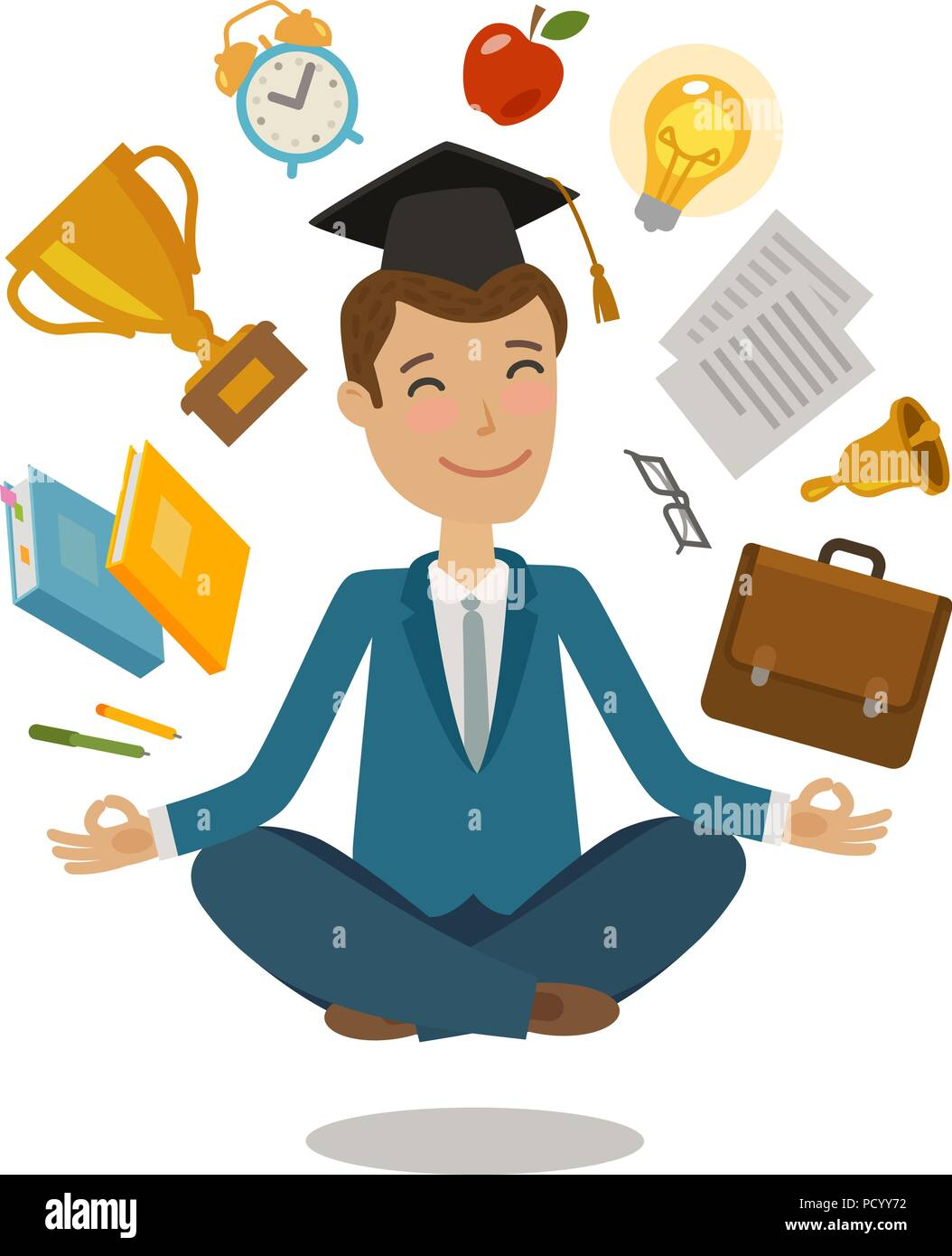 School, college concept. Funny student sitting in lotus pose. Vector illustration - Stock Vector