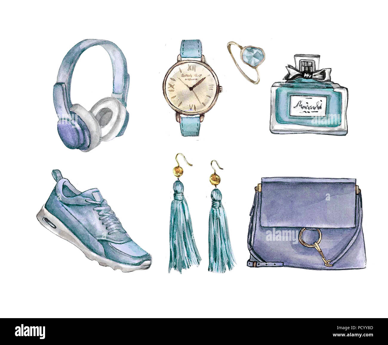 584e4b11 Watercolor Fashion. Set of trendy accessories. Bag, earrings, watches,  sneakers,