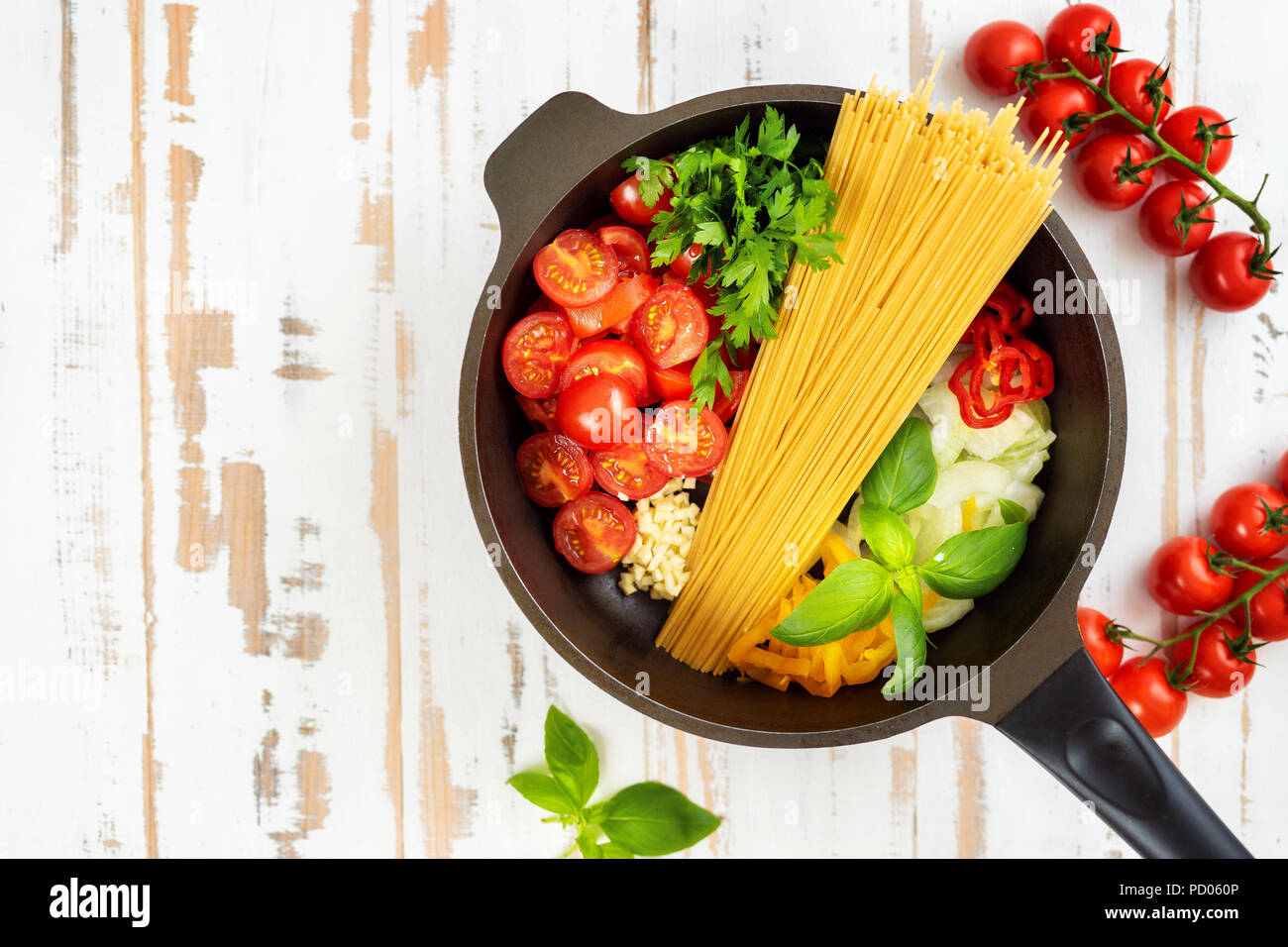 One pot pasta seeing from above - Stock Image