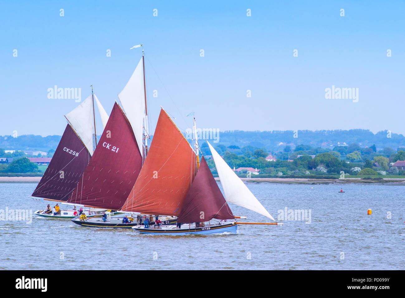 Skiffs racing on the Blackwater. - Stock Image
