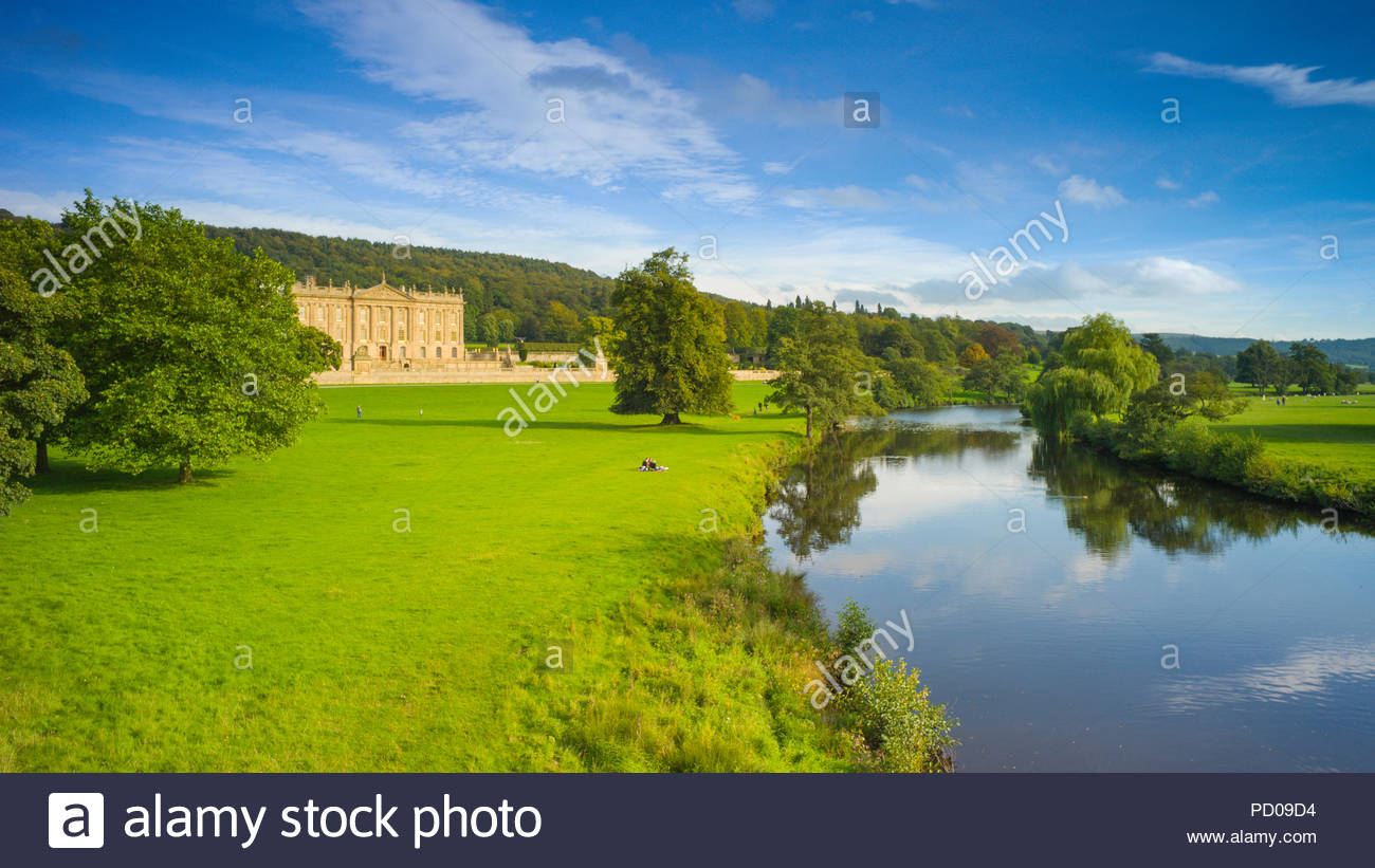 View of Chatsworth House, and the River Derwent. - Stock Image