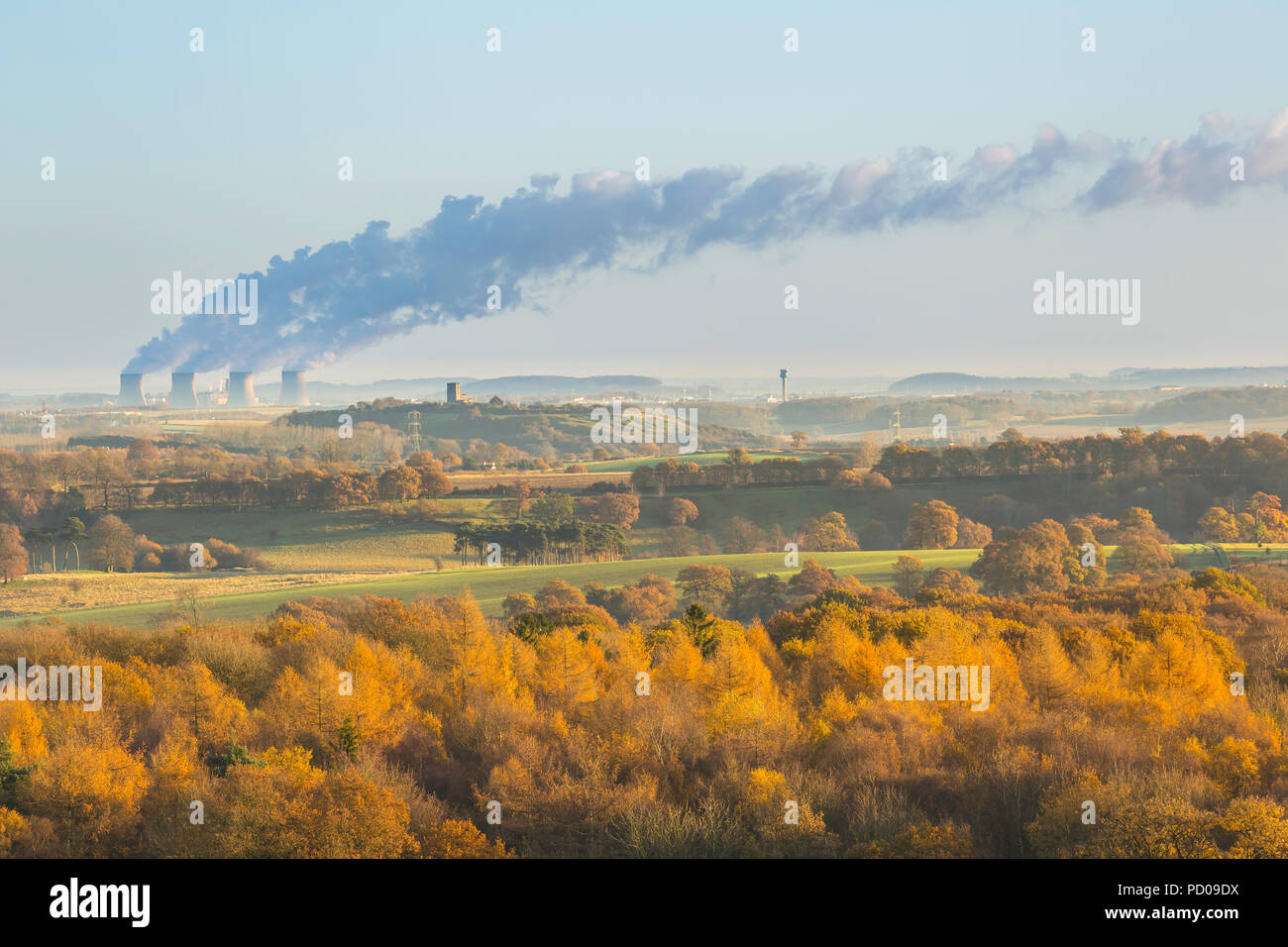 View across north Leicestershire showing Ratcliffe on Soar power station, Breedon Church and the control tower at East Midlands airport. - Stock Image