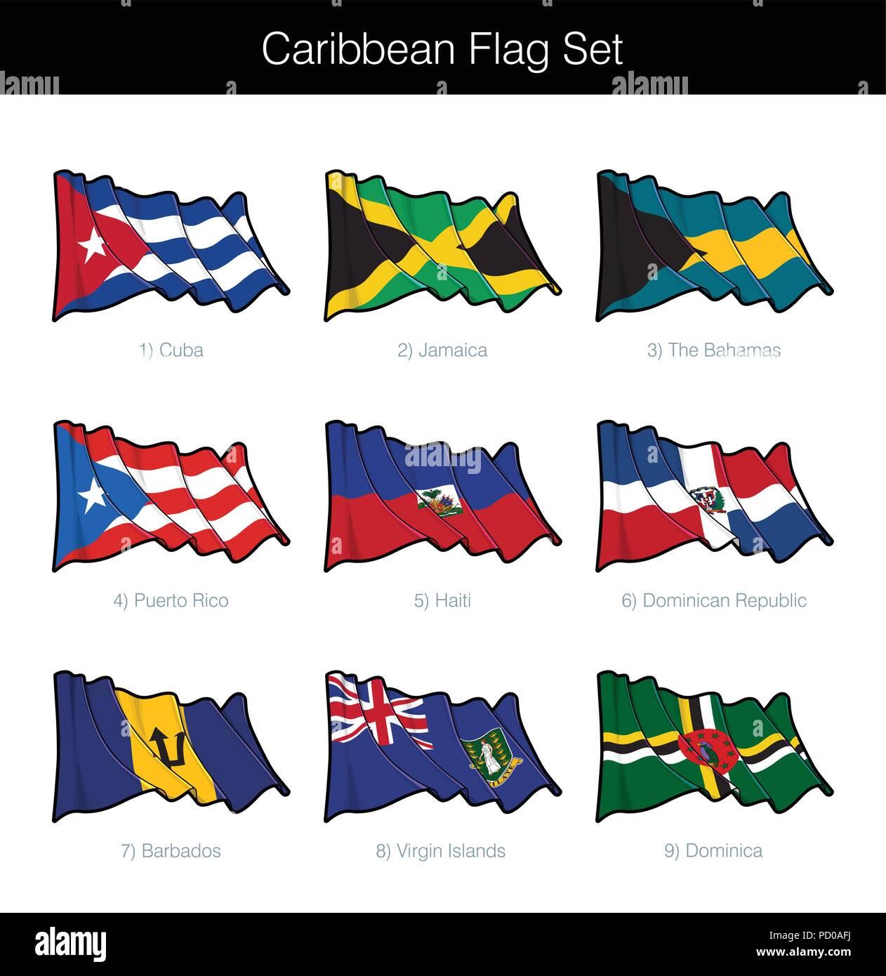 Caribbean Waving Flag Set. The set includes the flags of Cuba, Jamaica, The Bahamas, Puerto Rico, Haiti, Dominican Republic, Barbados, British Virgin  - Stock Vector
