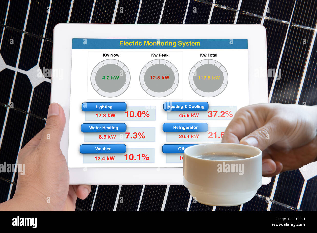 Hand holding tablet computer that showing simple application to monitoring energy usage while another hand holding coffee cup. - Stock Image