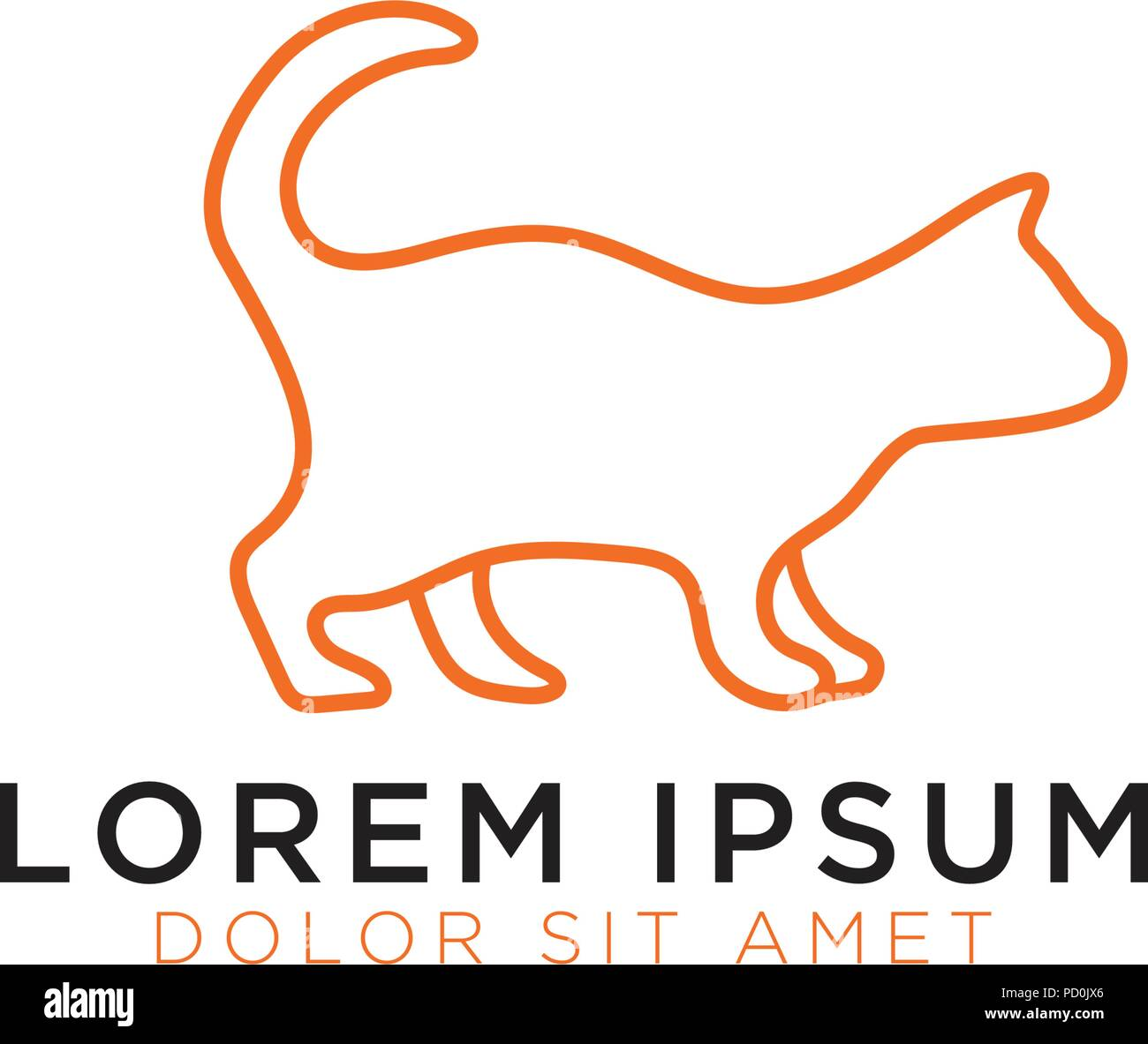 Illustration Of Cat Logo Design Template Vector Stock Vector Art