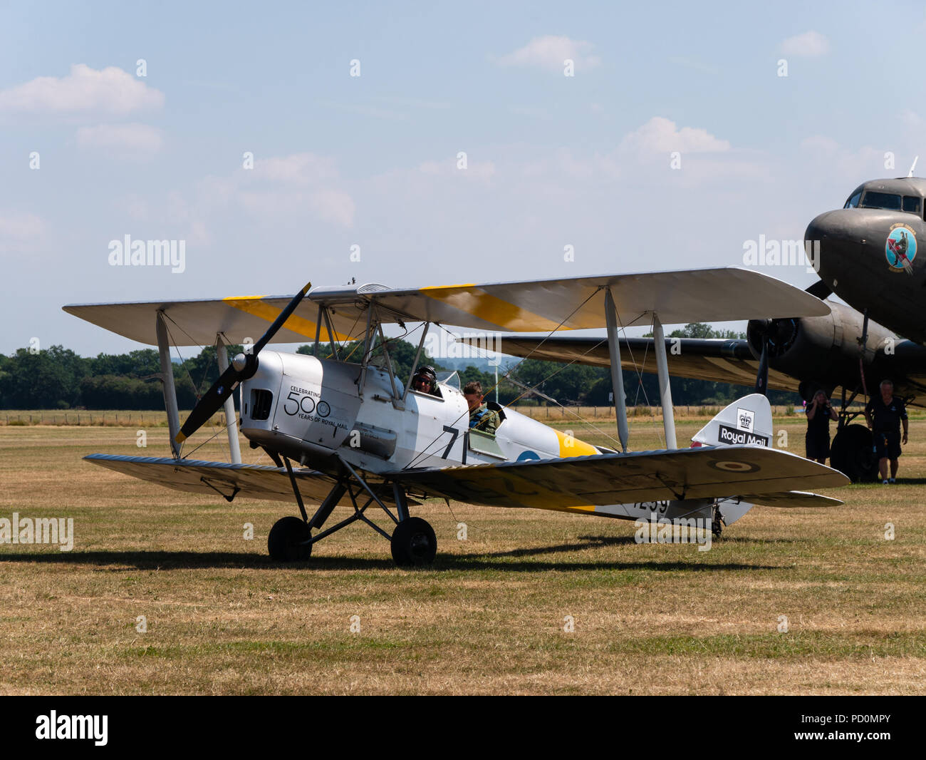 Tigermoth bi-plane aircraft, Headcorn, Kent, UK - Stock Image
