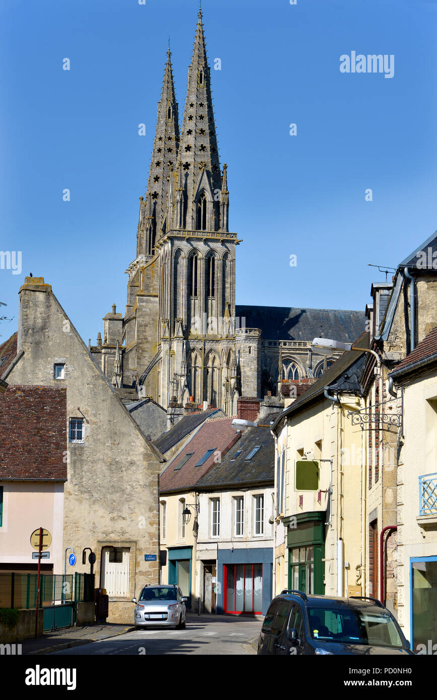 Cathedral of Sees, a commune in the Orne department in north-western France - Stock Image