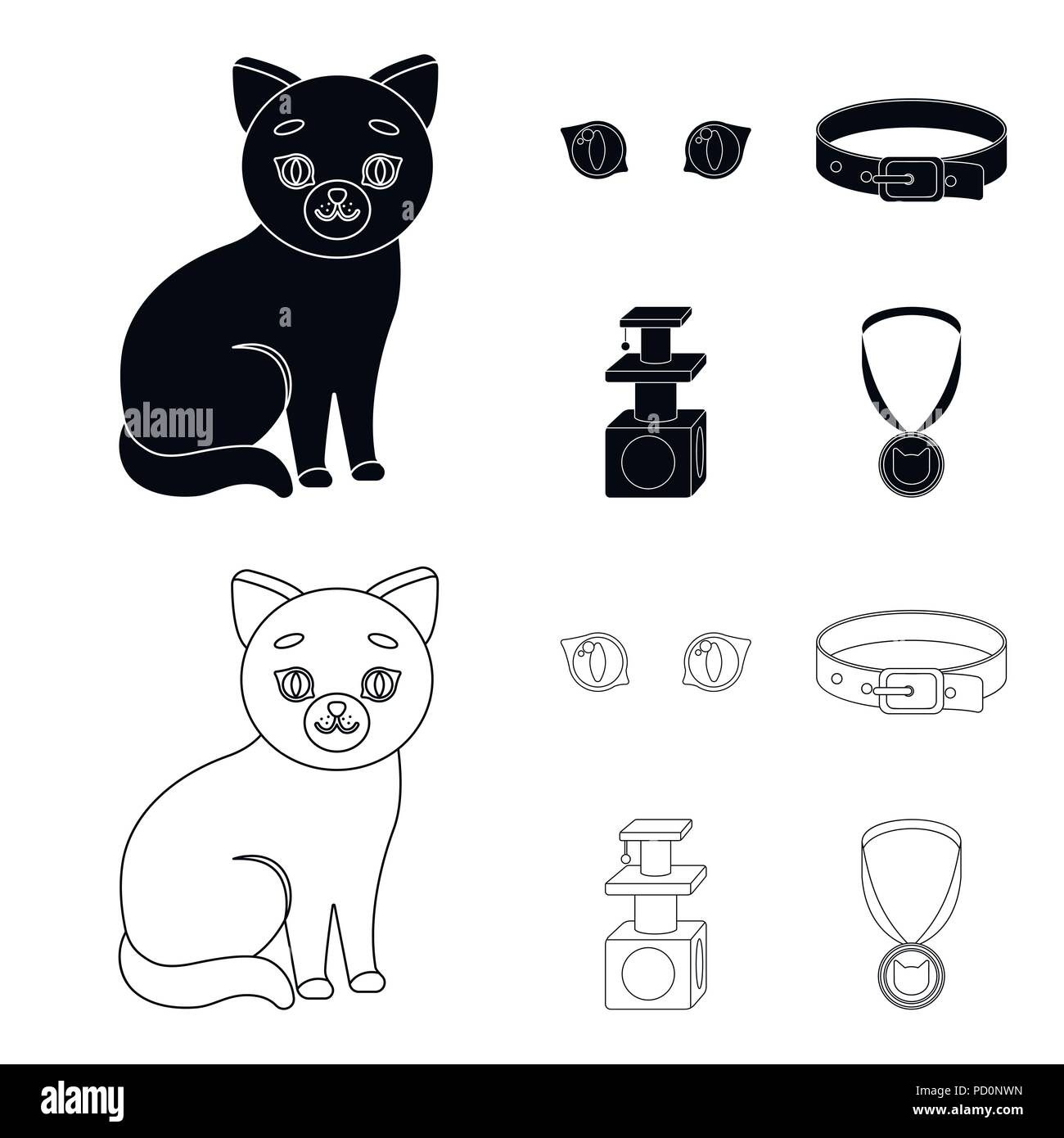 Tremendous Cat Eyes A Collar A House For A Cat A Medal On A Ribbon Home Interior And Landscaping Synyenasavecom