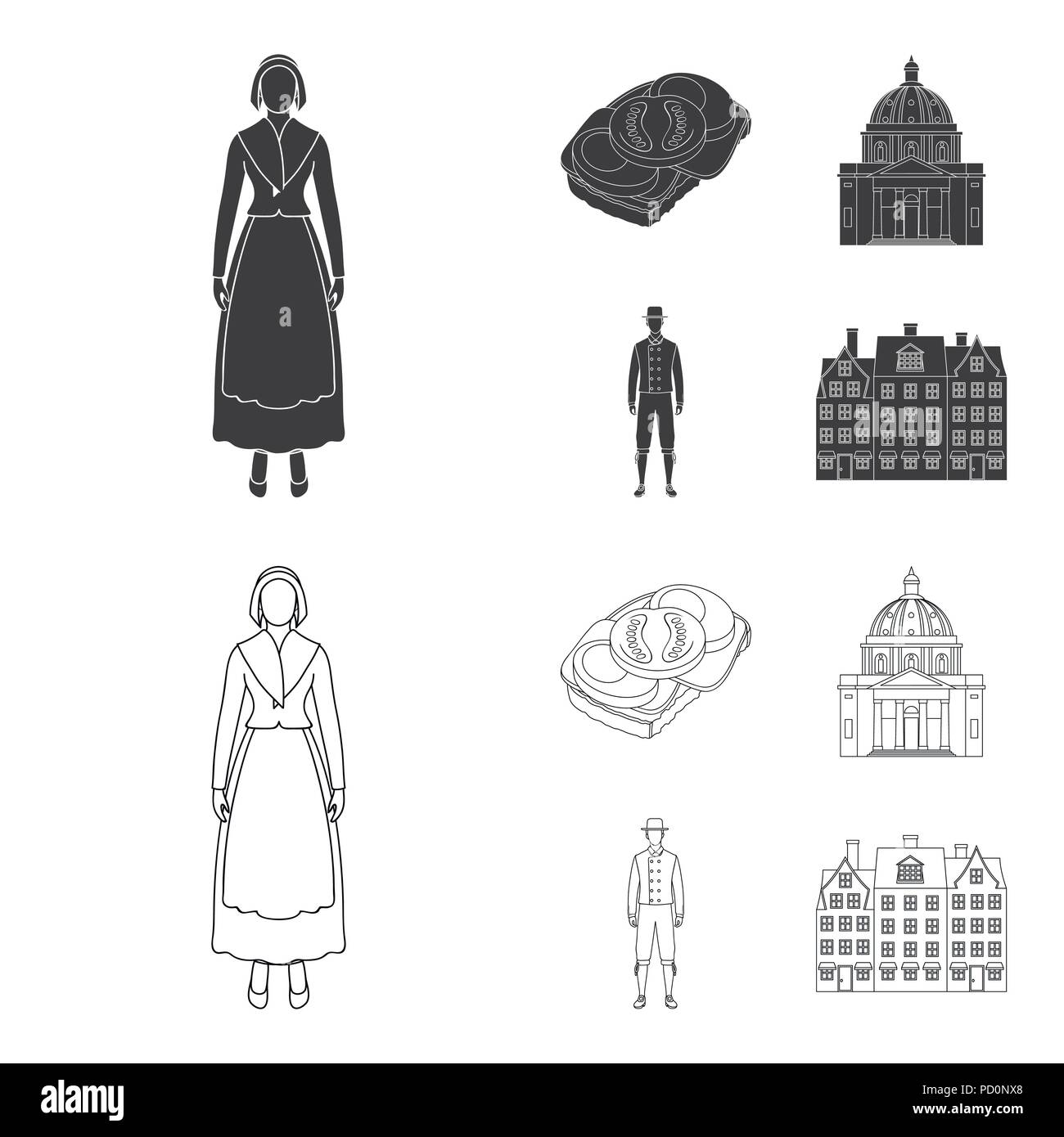 Denmark, history, restaurant, and other  icon in black,outline style.Sandwich, food, bread icons in set collection Stock Vector