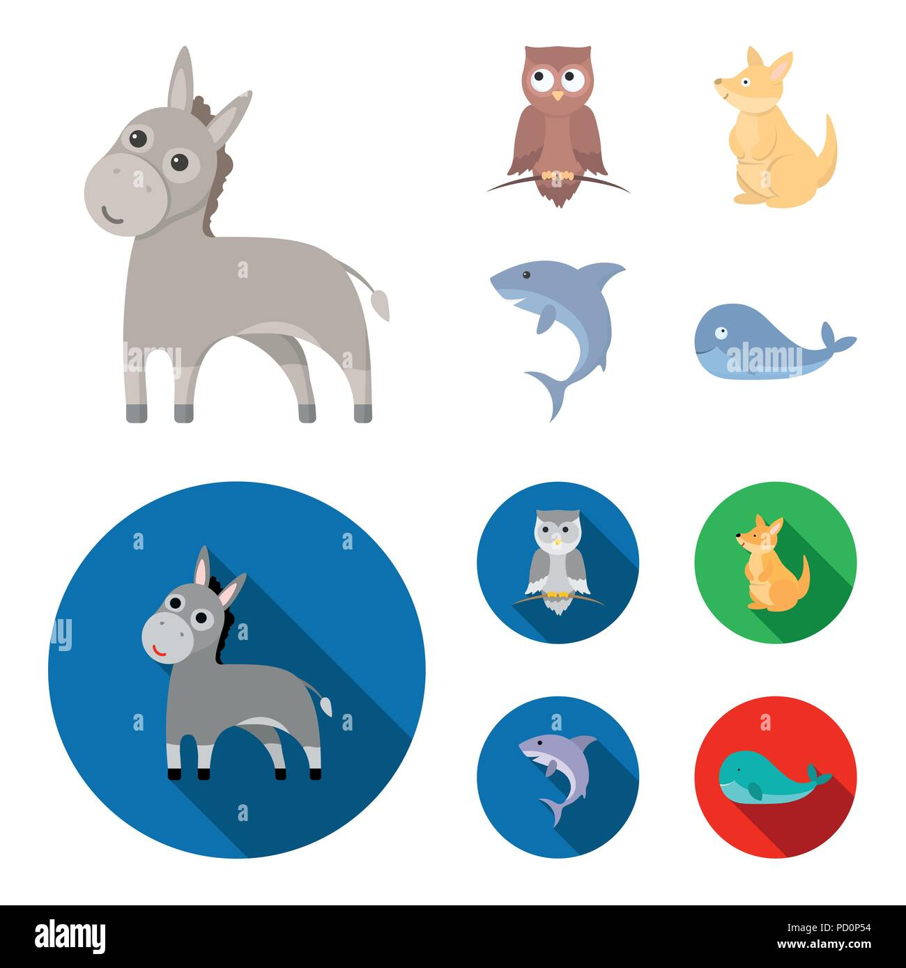 Donkey, owl, kangaroo, shark.Animal set collection icons in cartoon,flat style vector symbol stock illustration . - Stock Image