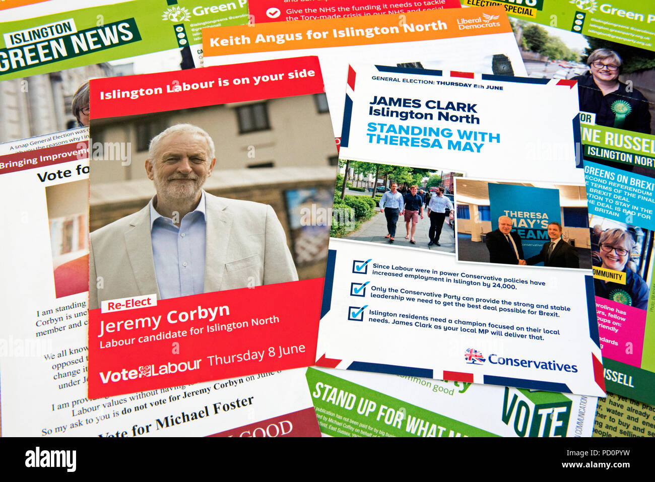 Selection of Election Leaflets Islington North - Stock Image