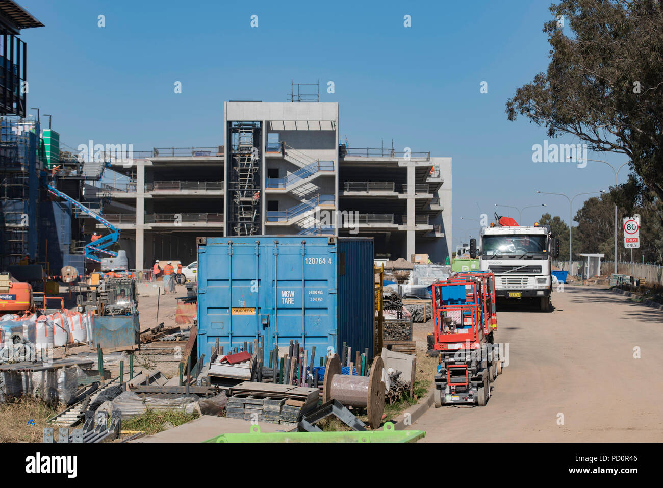 August 2018, The Sydney Metro Northwest rail line will have new commuter parking including this 1360 space site at the new Kellyville Station - Stock Image
