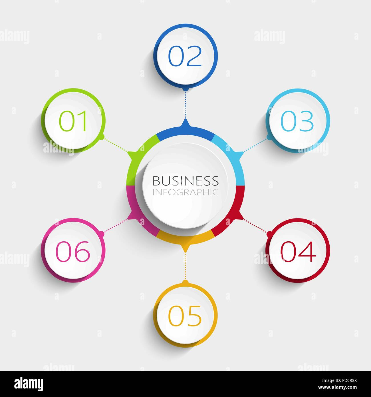 Modern Abstract 3D Infographic Template With 6 Steps Business Circle Options For Brochure Diagram Workflow Timeline Vector EPS 10