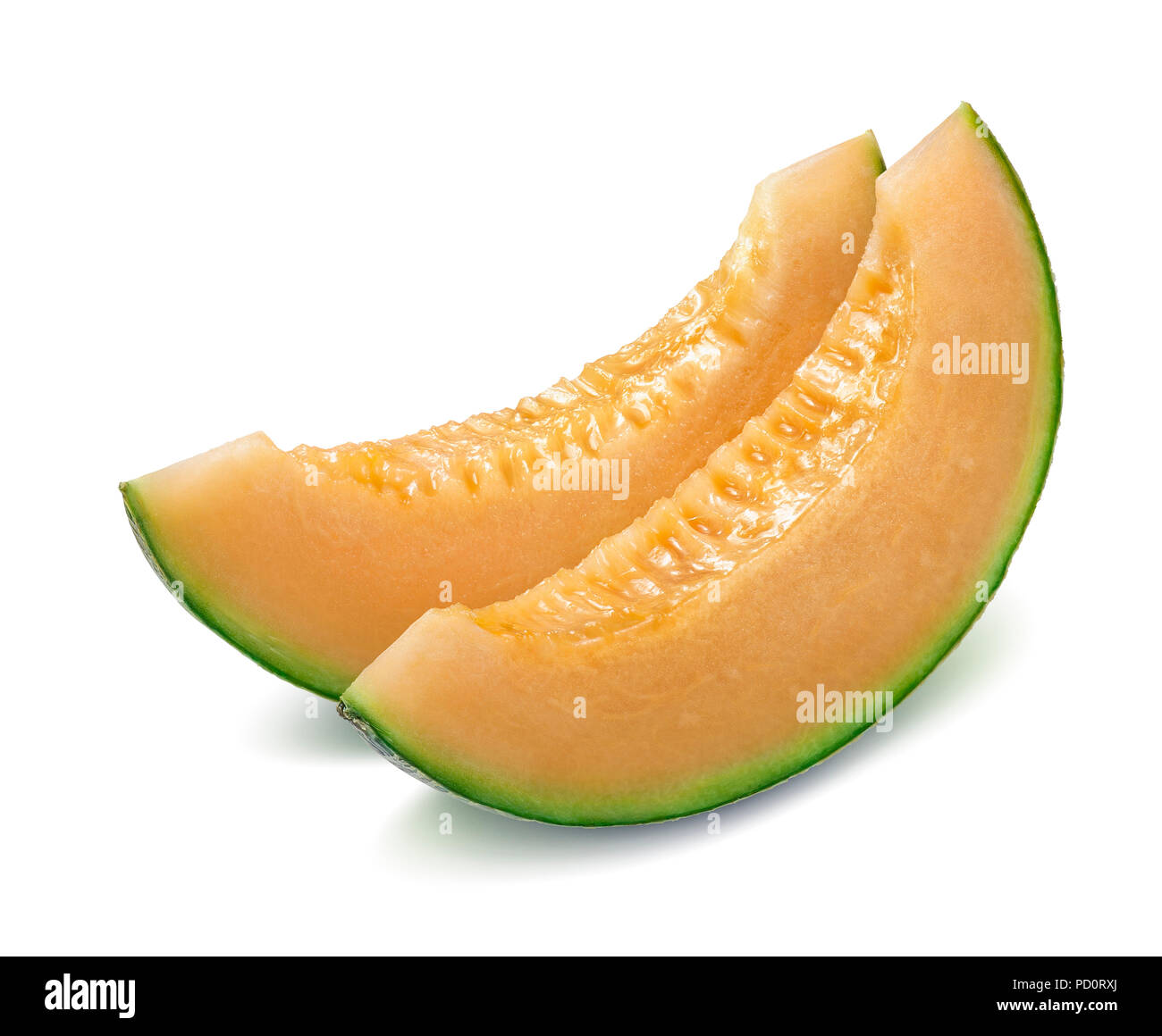Melon cantaloupe pieces isolated on white background as package design element - Stock Image