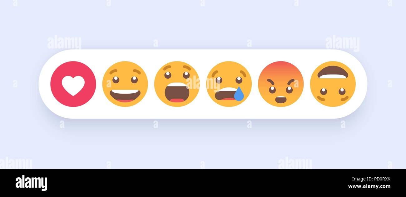55f3fa668b48 Abstract Set of Emoticons. Emoji flat style icons on white background. Vector  EPS 10
