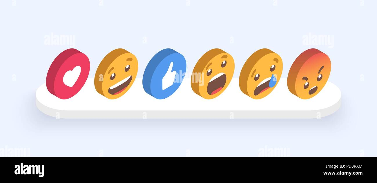 5464839460ec Abstract Isometric Set of Emoticons. Emoji flat style icons on white  background. Vector EPS