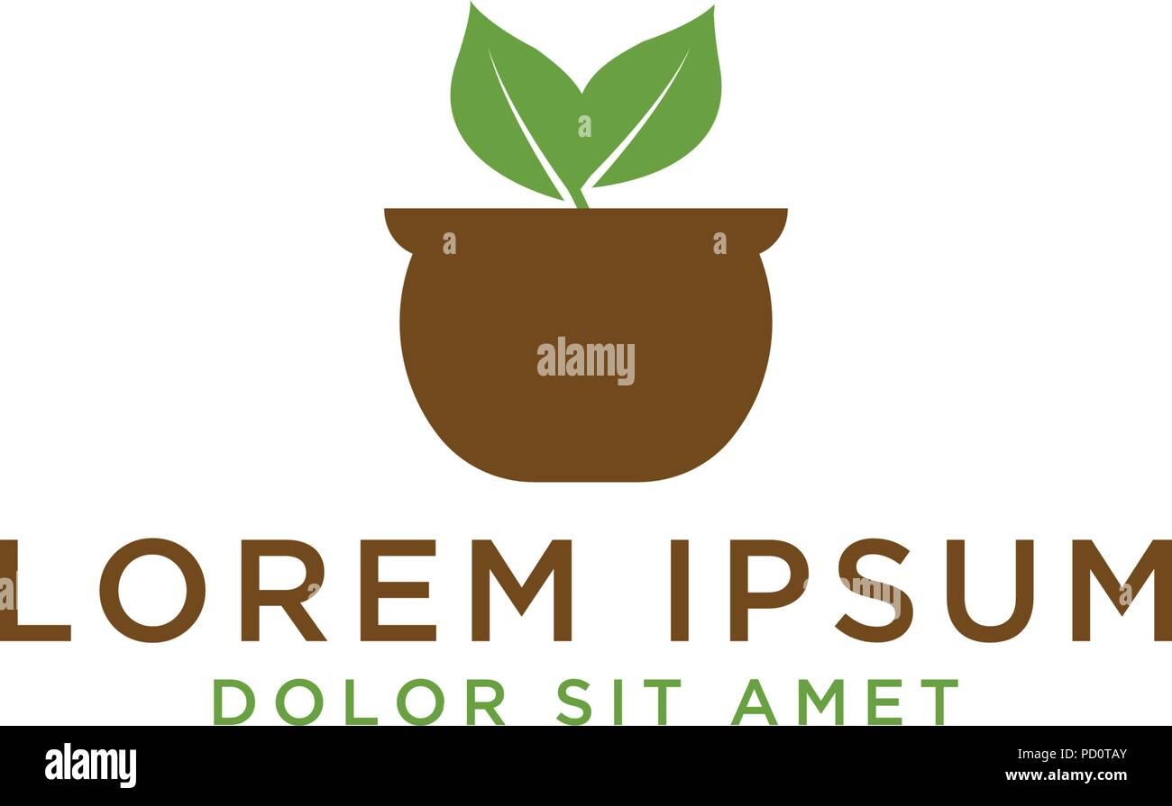 Illustration Of Plant Pot Logo Design Template Vector