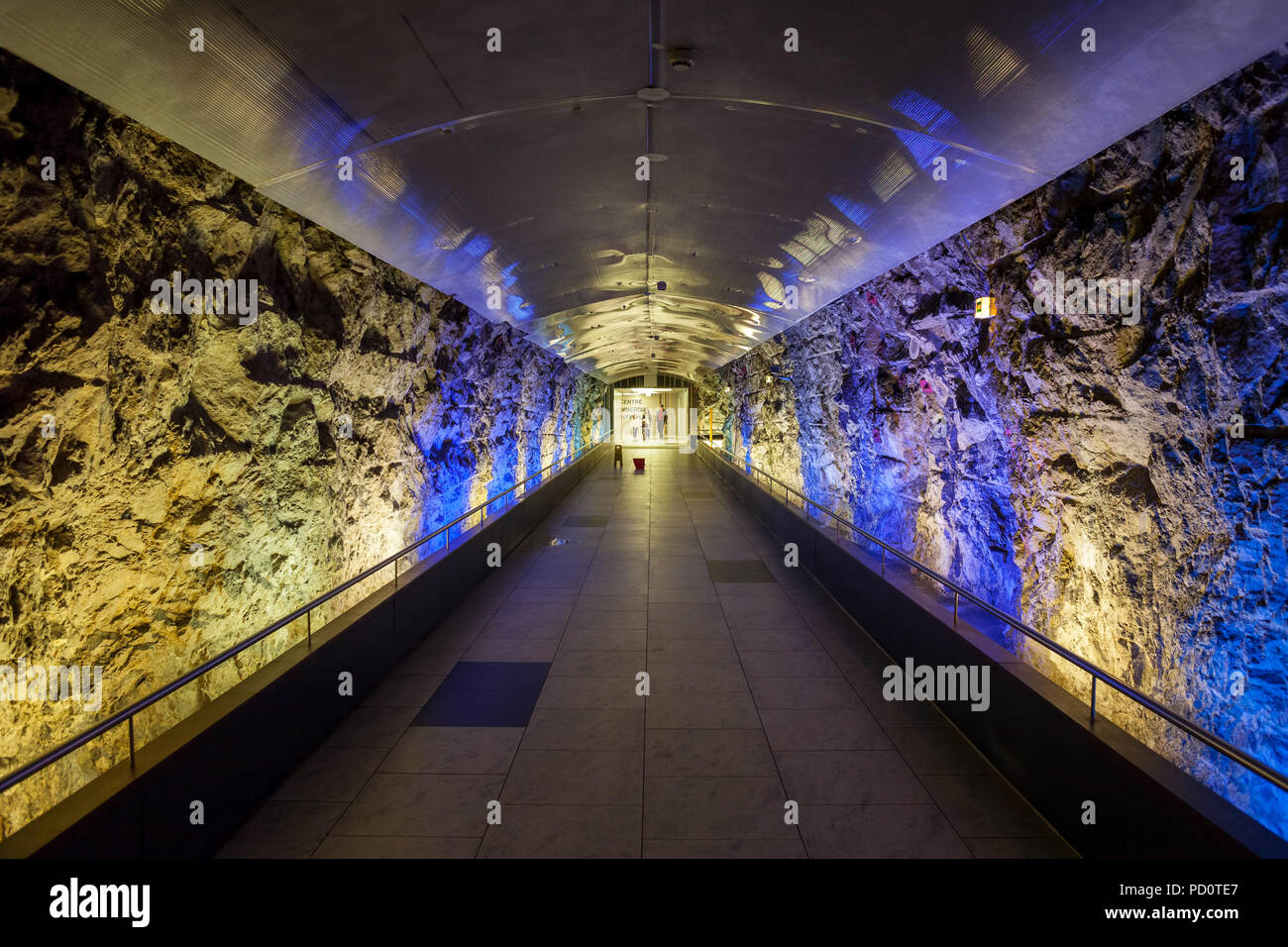 Underground passage to elevator under Monaco City, vanishing point composition - Stock Image