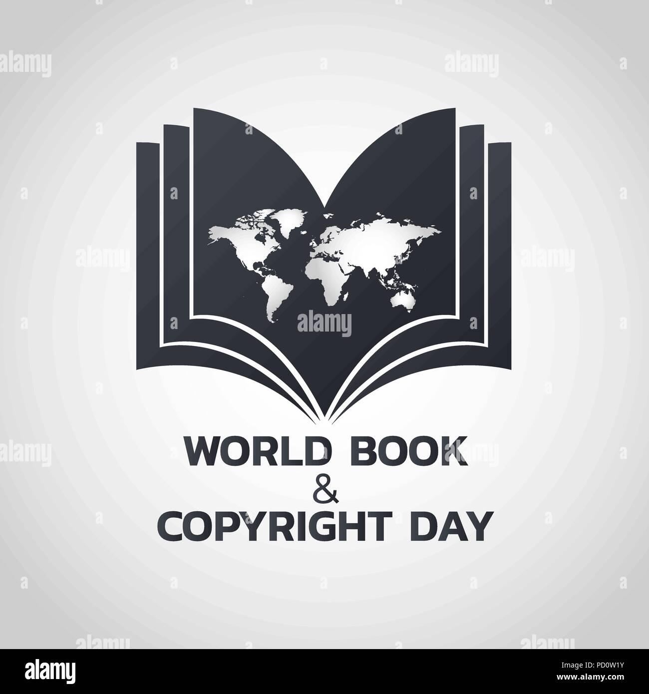 World Book and Copyright Day logo icon design, vector illustration - Stock Vector