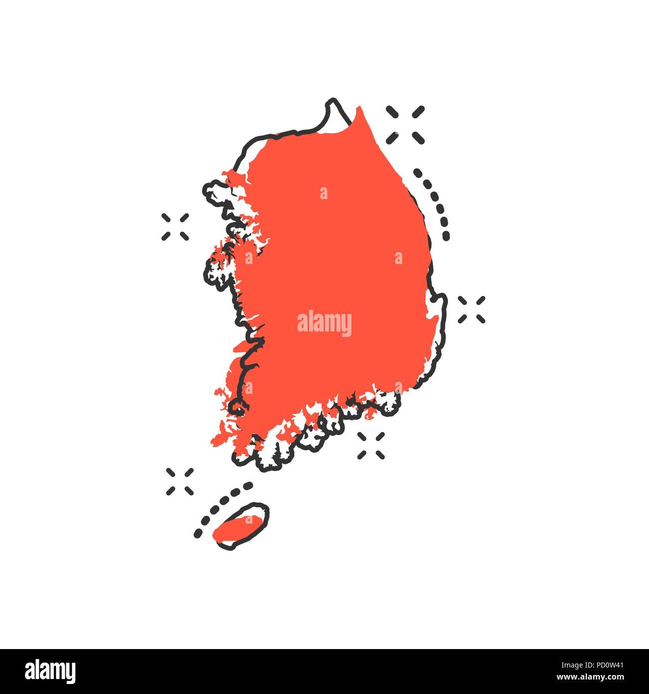 6a6a5b39e49c Vector cartoon South Korea map icon in comic style. South Korea sign  illustration pictogram.