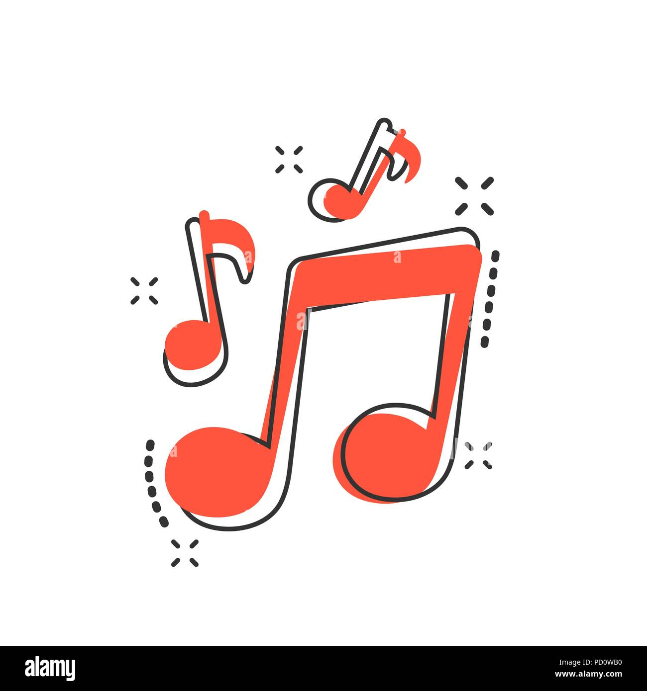 Vector Cartoon Music Icon In Comic Style Sound Note Sign Illustration Pictogram Melody Music Business Splash Effect Concept Stock Vector Image Art Alamy