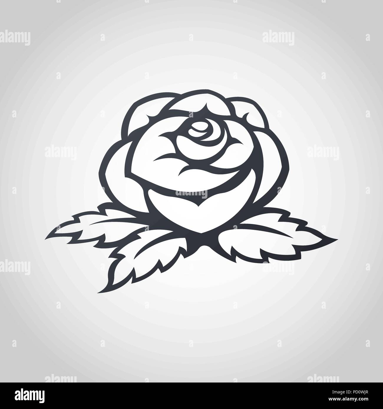 Rose Vector Logo Icon Illustration Stock Vector Art Illustration