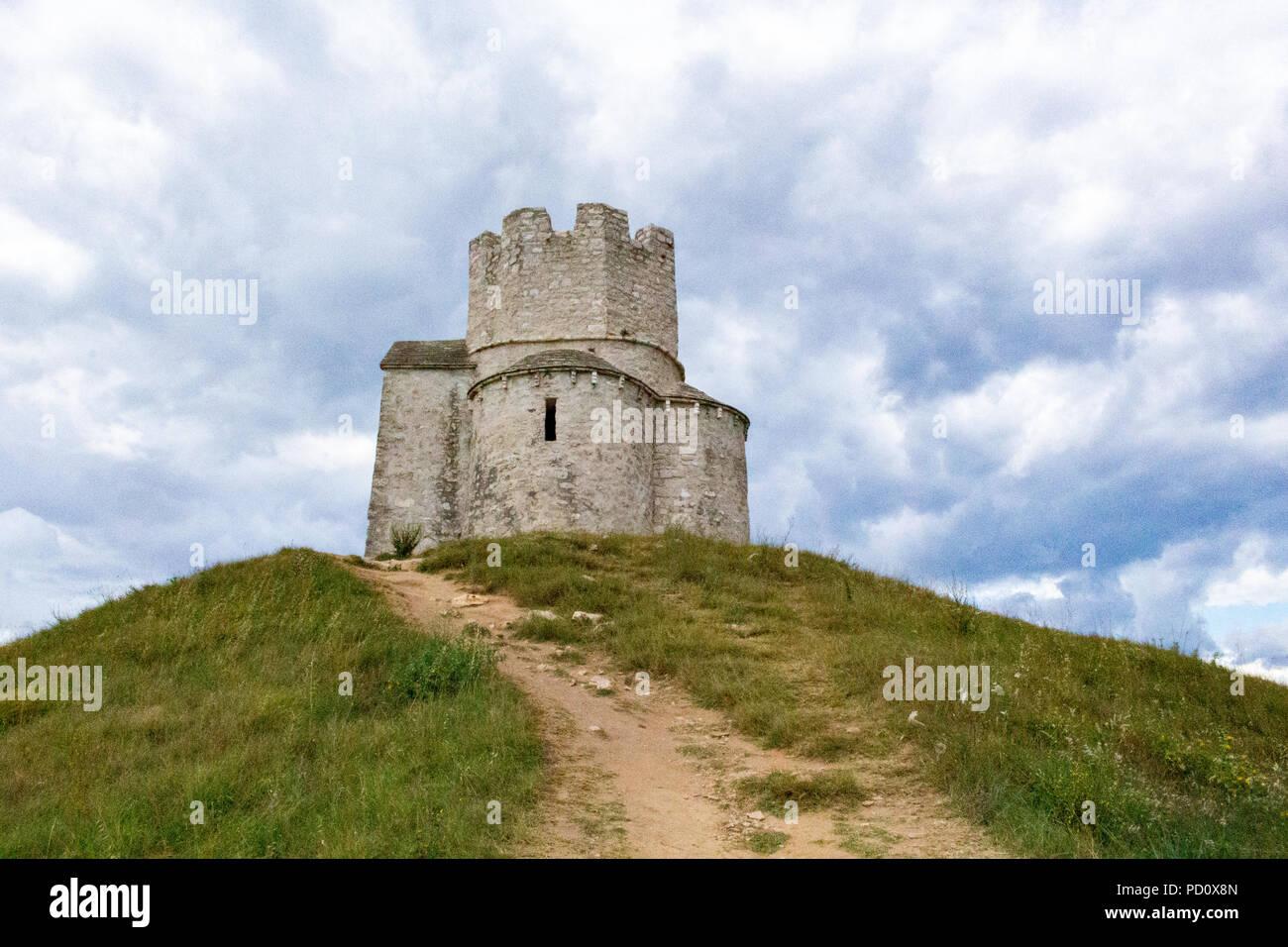 Zadar, Croatia - July 23, 2018: Saint Nicholas chapel and tower located on a hill between Nin and Zaton Stock Photo