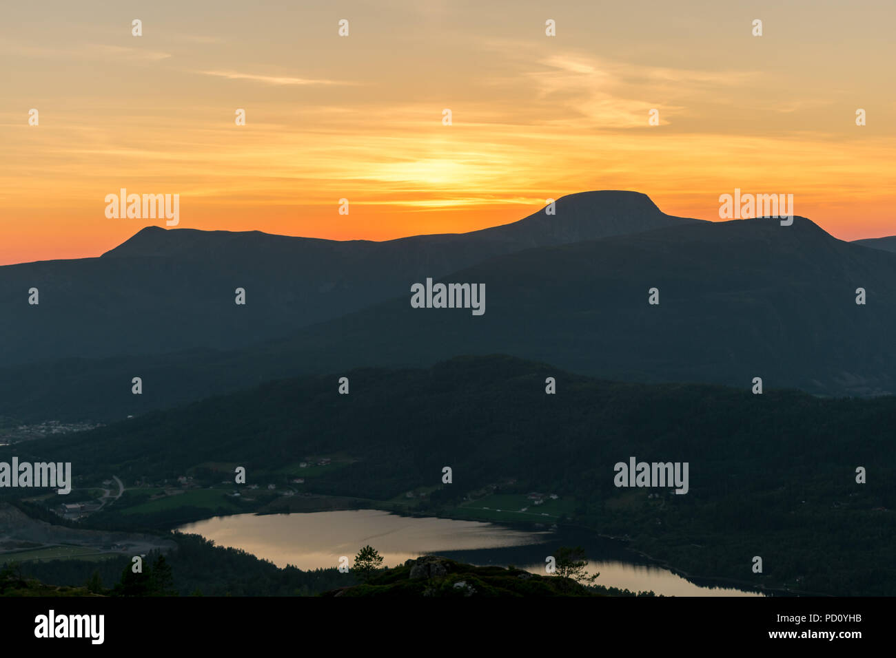 Sunset the same night as the blood moon (27.07.2018). The sun set showing these beautiful colors! - Stock Image