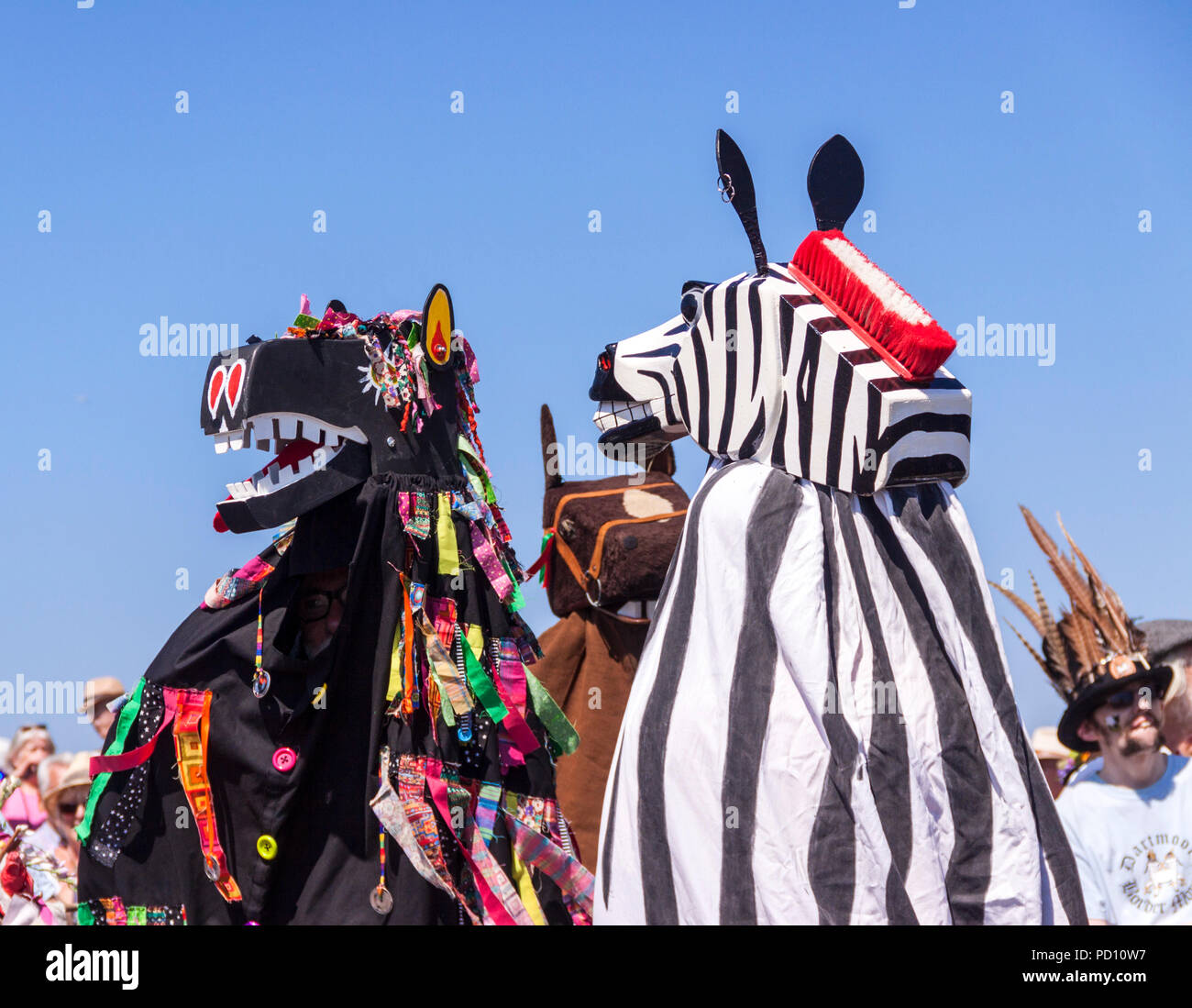 Pantomime horses ready for the Sidmouth Horse Trials, during Folk Week 2018. - Stock Image