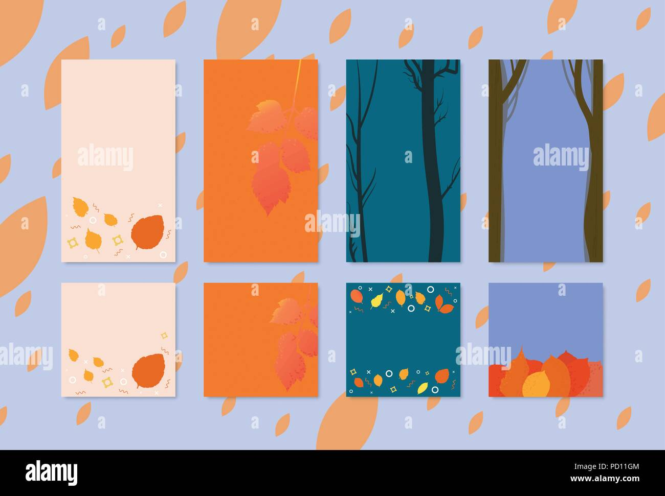 Set Of Backgrounds With Autumn Elements For Social Media Networks